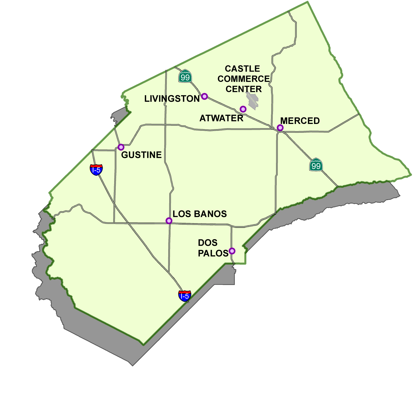 Map of Merced County with cities mapped