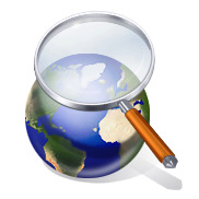 Digital cartoon of magnifying glass over globe