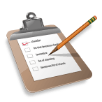Digital cartoon of Pencil and Checklist on clipboard