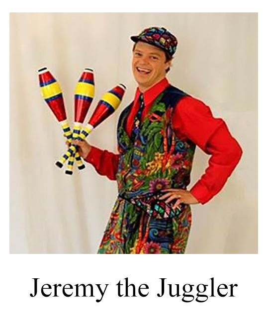 Photo of Jeremy the Juggler in Colorful Outfit Holding Juggling Clubs