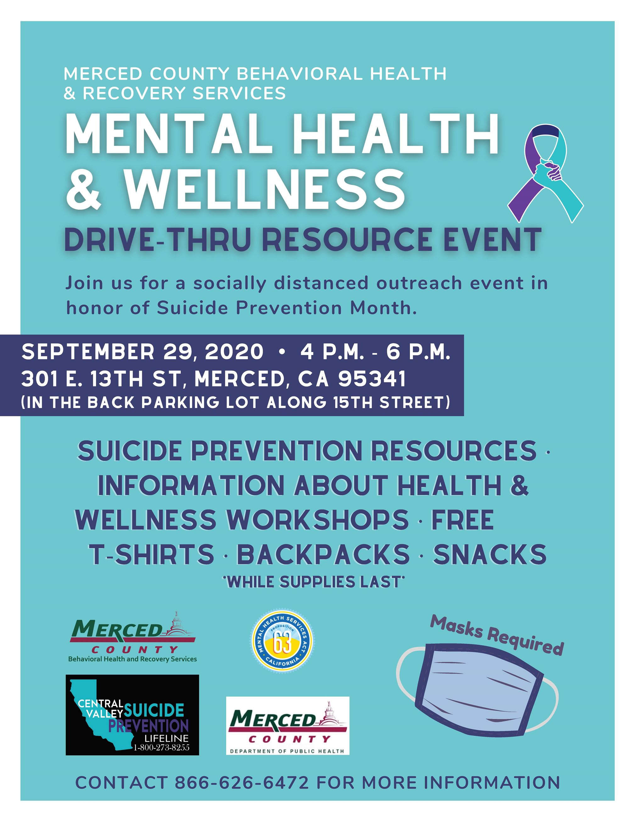 Flyer for Suicide Prevention and Awareness Outreach Drive Through Event on 09-29-2020